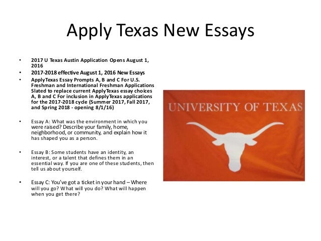 applytexas essay b help Applytexas essay topics topic b discuss how your current and future academic and extra-curricular activities might help you achieve your goals close window.