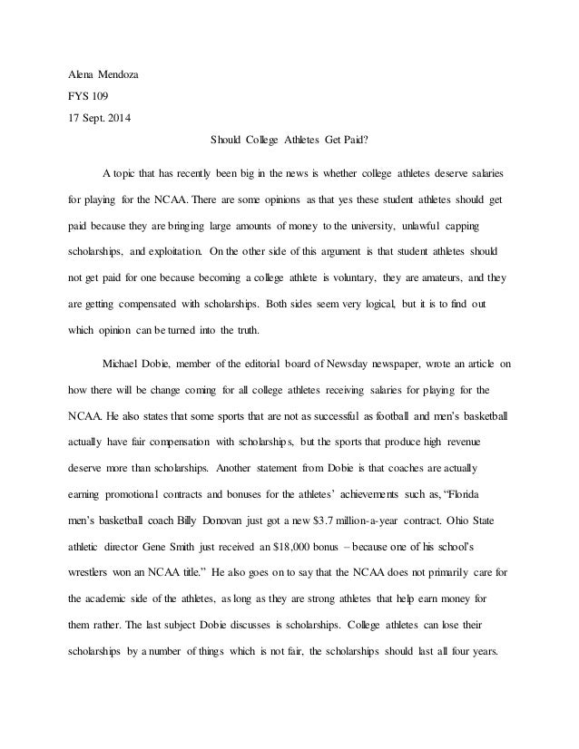Persuasive essay on why college athletes should not be paid