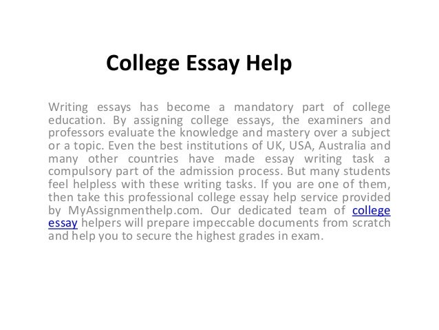 Help With Essays For College