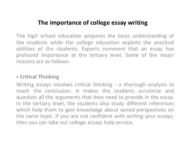 The Importance Of College Essays Why College Education Is Important To Me Essay On Business Ethics also Assignment Writing Service Uk  Custom Writing Services India