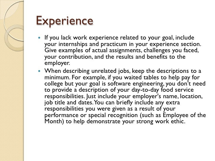 Writing Your First Job Resume  De Emphasizing Lack of Work Experience The Guardian    Experience Employers