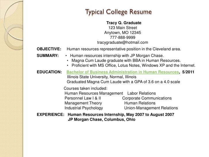 College grads resume review – Human Resources Representative