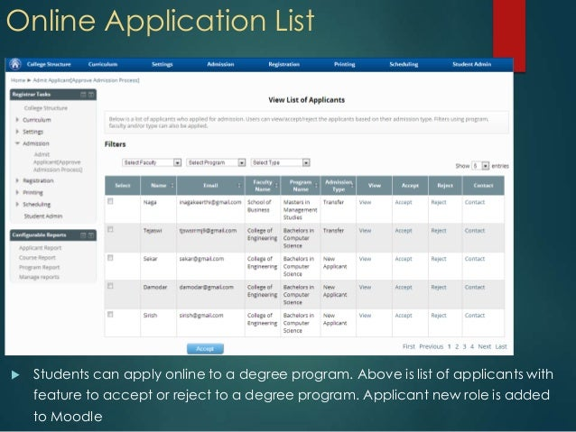 Online Application List Students can apply online to a degree program. Above is list of applicants withfeature to accept ...