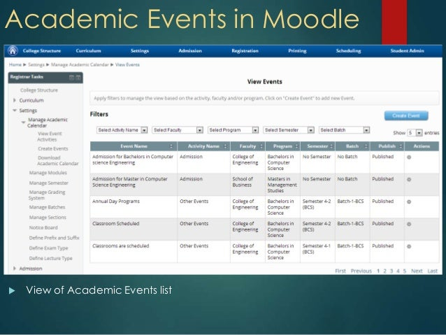 Academic Events in Moodle View of Academic Events list