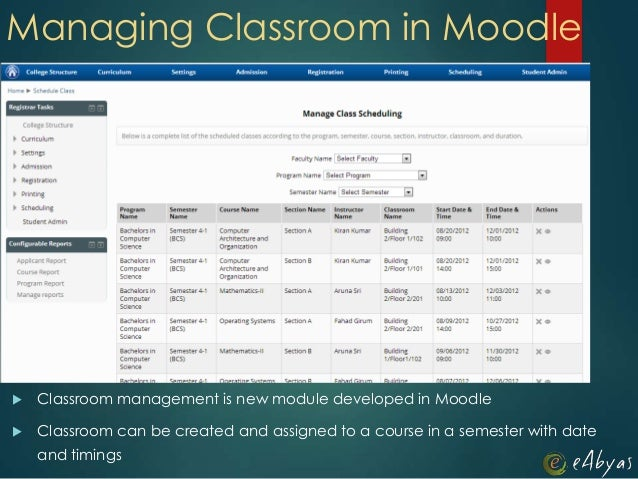 Managing Classroom in Moodle Classroom management is new module developed in Moodle Classroom can be created and assigne...