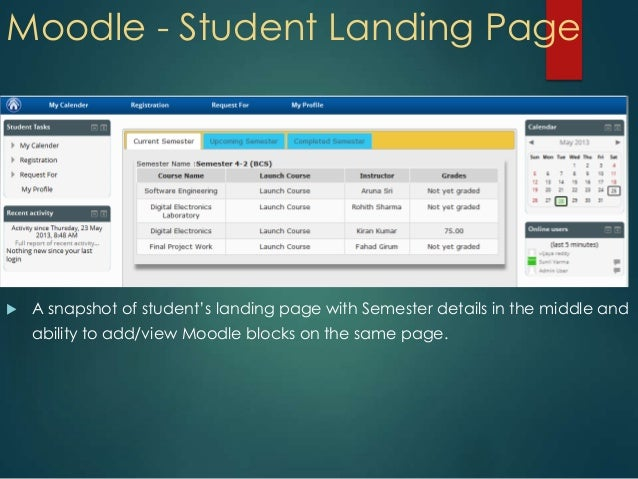 Moodle - Student Landing Page A snapshot of student's landing page with Semester details in the middle andability to add/...