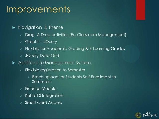 Improvements Navigation & Themeo Drag & Drop activities (Ex: Classroom Management)o Graphs – JQueryo Flexible for Academi...