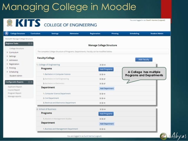 A College has multiplePrograms and DepartmentsManaging College in Moodle