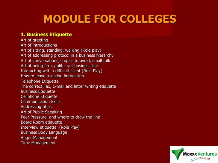MODULE FOR COLLEGES 1. Business Etiquette   Art of greeting  Art of introductions  Art of sitting, standing, walking (Role...