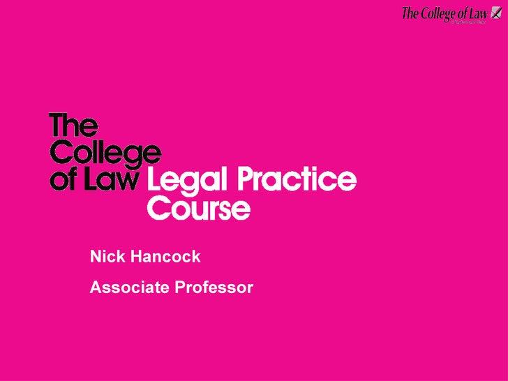 Presenter's name Title of presenter Nick Hancock Associate Professor
