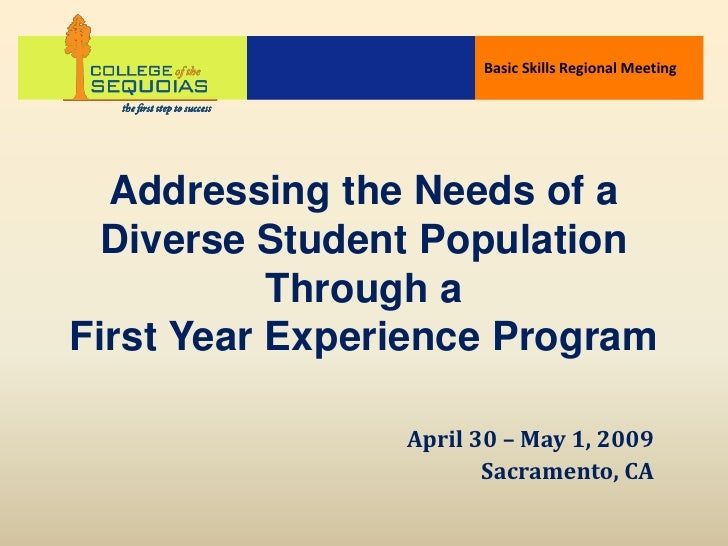 Basic Skills Regional Meeting       Addressing the Needs of a  Diverse Student Population            Through a First Year ...