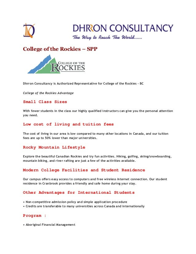 College of the Rockies – SPP Dhrron Consultancy is Authorized Representative for College of the Rockies - BC College of th...