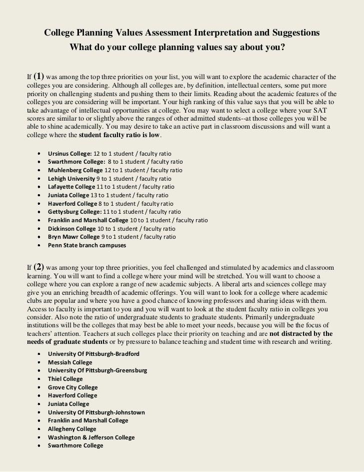 College Planning Values Assessment Interpretation and Suggestions               What do your college planning values say a...
