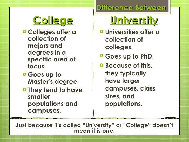 whats the difference between a college and university