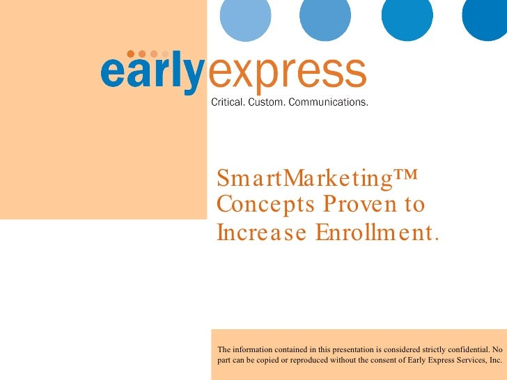 SmartMarketing™ Concepts Proven to  Increase Enrollment.   The information contained in this presentation is considered st...
