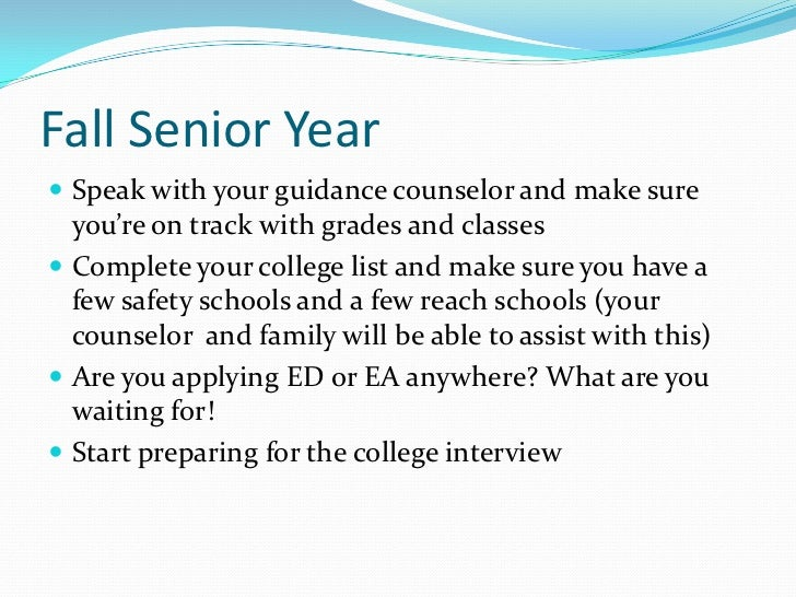 college readiness and college essay preparation  10 fall senior year