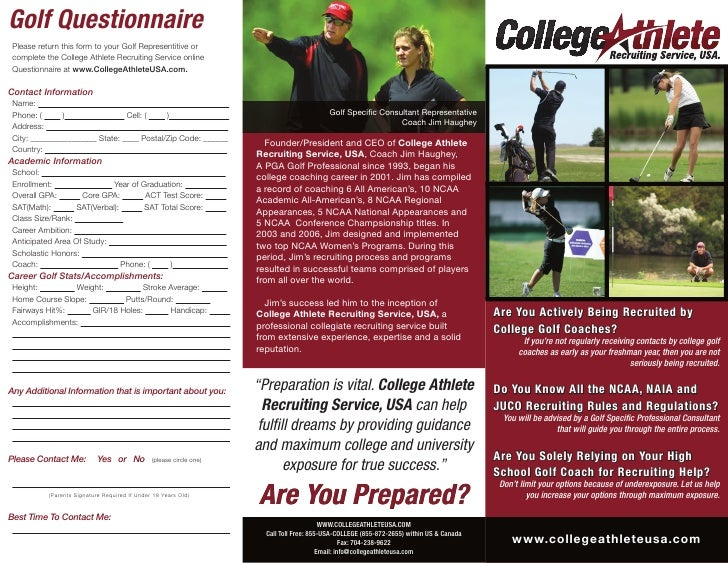college athlete recruiting service brochure