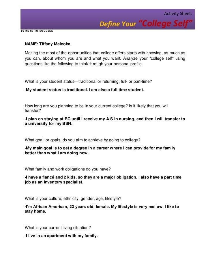"Activity Sheet:                                             Define Your ""College Self""1 0 KE YS T O SU C CESS  NAME: Tiffa..."