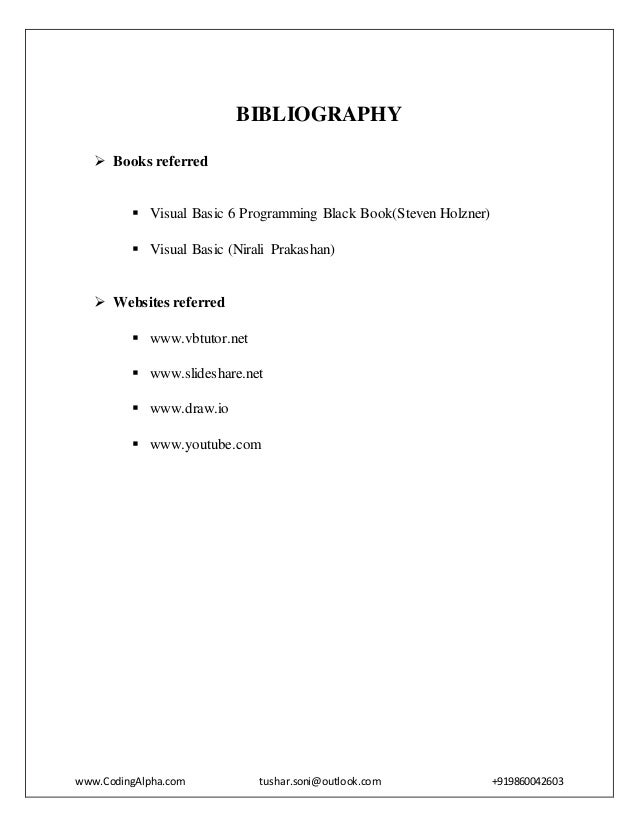how to write bibliography for computer project
