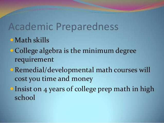 """academic essay preparedness Included in nagb's definition of """"academic preparedness"""" the preparedness estimates are not intended to represent or be used as standards for minimal academic preparedness for college they are intended solely to add meaning to interpretations of the twelfth grade naep reading and mathematics results in naep reports."""
