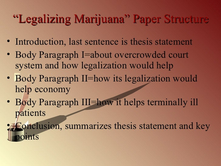 thesis statement for legalization of medical marijuana Writing a research paper on legalizing medical marijuana  1 for a detailed  look at how to tailor a thesis statement to your specific type of essay, go to.