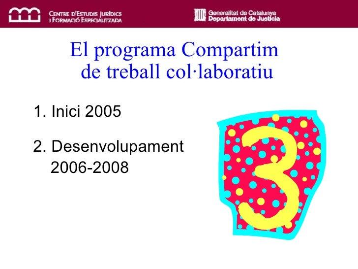El programa Compartim  de treball col·laboratiu 1. Inici 2005 2. Desenvolupament  2006-2008