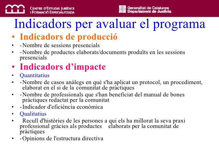 Indicadors per avaluar el programa <ul><li>Indicadors de producció </li></ul><ul><li>- Nombre de sessions presencials  </l...