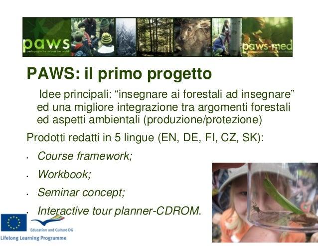 """PAWS: il primo progetto Idee principali: """"insegnare ai forestali ad insegnare"""" ed una migliore integrazione tra argomenti ..."""