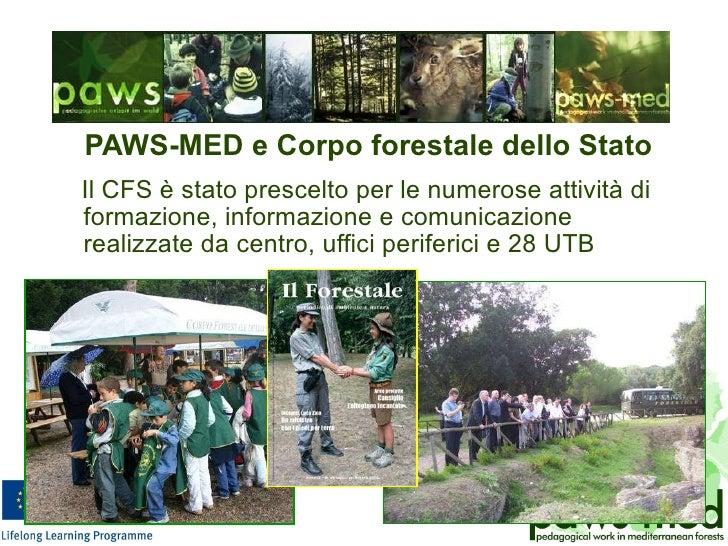 <ul><li>PAWS-MED e Corpo forestale dello Stato </li></ul><ul><li>Il CFS è stato prescelto per le numerose attività di form...