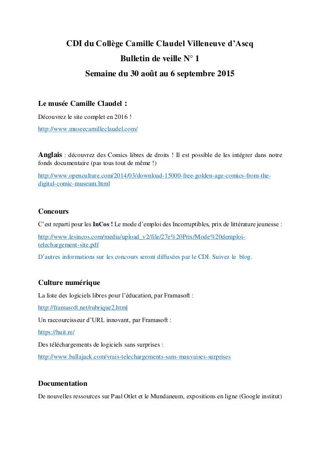 CDI du Collège Camille Claudel Villeneuve d'Ascq Bulletin de veille N° 1 Semaine du 30 août au 6 septembre 2015 Le musée C...