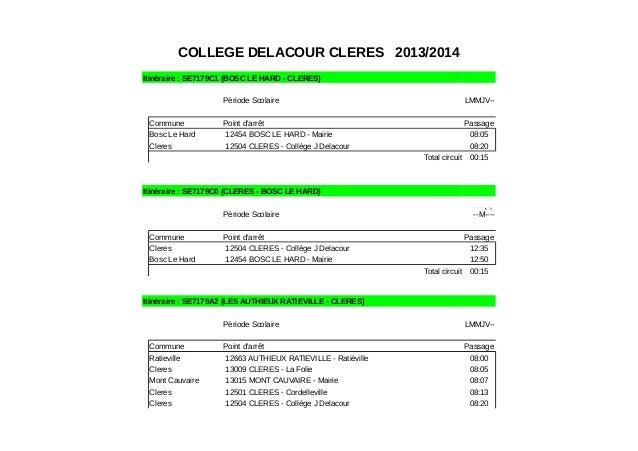 COLLEGE DELACOUR CLERES 2013/2014 Itinéraire : SE7179C1 (BOSC LE HARD - CLERES) Période Scolaire LMMJV-- Commune Point d'a...