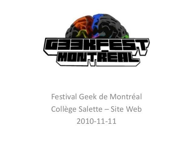 Festival Geek de Montréal Collège Salette – Site Web 2010-11-11