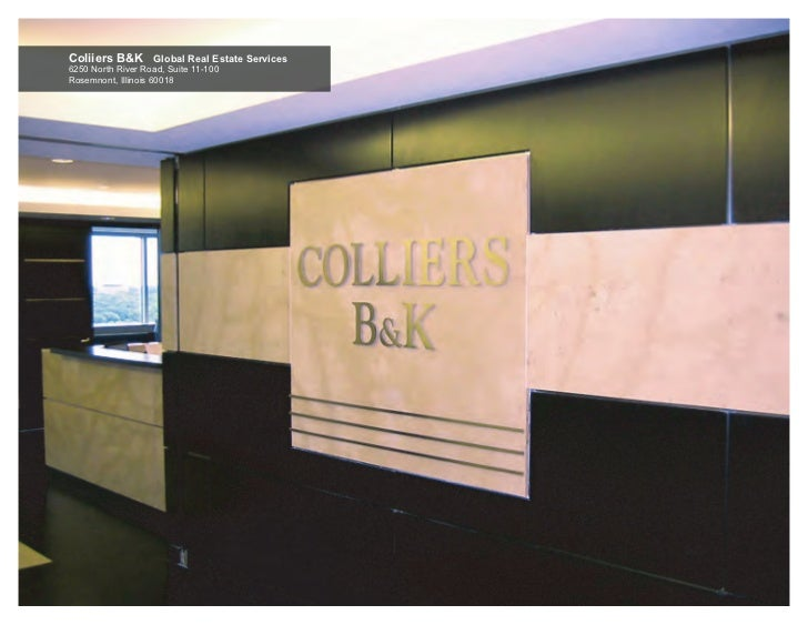 Coliiers B&K Global Real Estate Services6250 North River Road, Suite 11-100Rosemnont, Illinois 60018