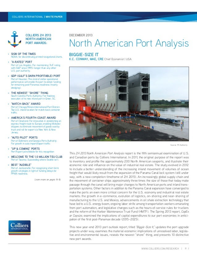 COLLIERS INTERNATIONAL | WHITE WHITE NORTH AMERICAN PORT ANALYSIS | PAPER PAPER | DECEMBER 2013  COLLIERS 2H 2013 NORTH AM...