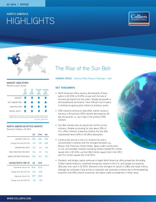 HIGHLIGHTS NORTH AMERICA WWW.COLLIERS.COM Q1 2014 | OFFICE MARKET INDICATORS Relative to prior period NORTH AMERICAN OFFIC...