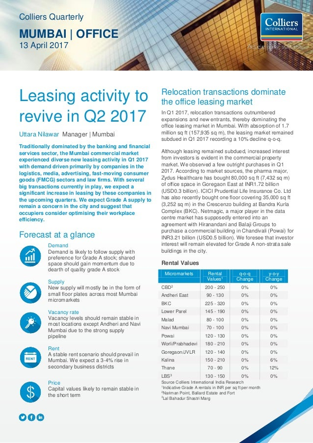 Leasing activity to revive in Q2 2017 Uttara Nilawar Manager | Mumbai Traditionally dominated by the banking and financial...