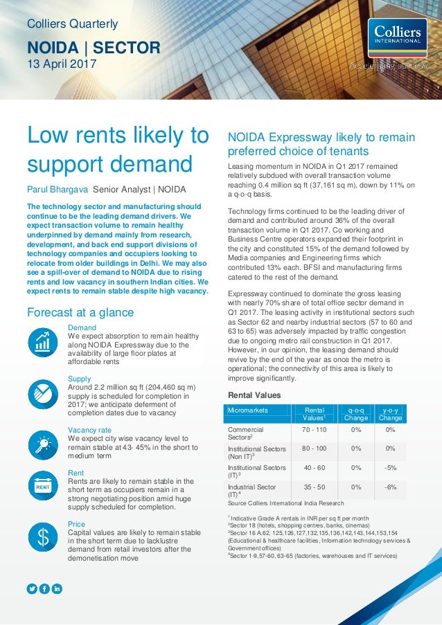 Low rents likely to support demand Parul Bhargava Senior Analyst | NOIDA The technology sector and manufacturing should co...