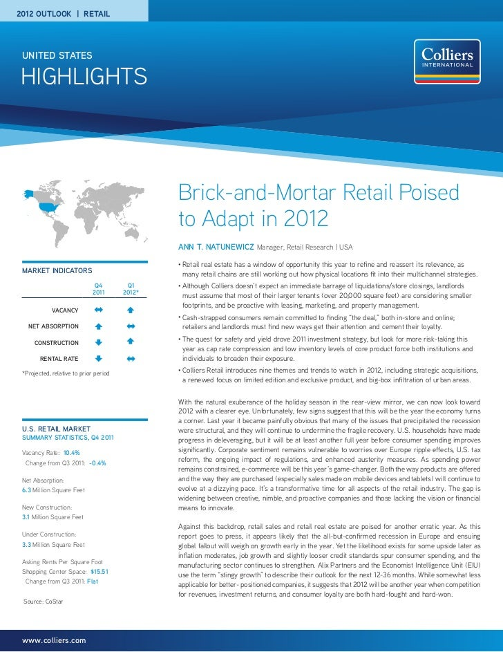 2012 OUTLOOK | RETAIL UNITED STATESHIGHLIGHTS                                                Brick-and-Mortar Retail Poise...