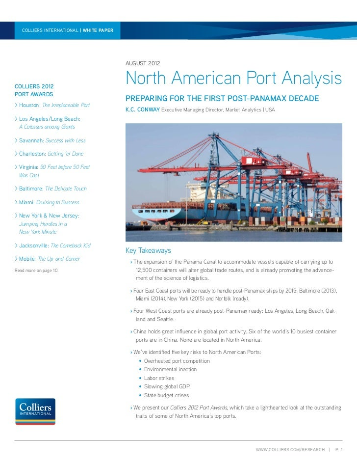 North American Port Analysis | Paper paper | August 2012  colliers international | white white                            ...