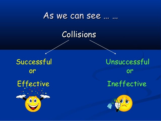As we can see … …             CollisionsSuccessful                Unsuccessful   or                          orEffective  ...
