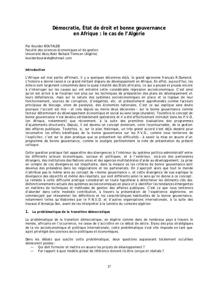 Démocratie, État de droit et bonne gouvernance                        en Afrique : le cas de l'AlgériePar Kouider BOUTALEB...