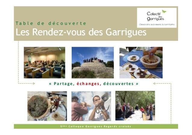 Ta b l e d e d é c o u v e r t e  Les Rendez-vous des Garrigues Rendez-  « Partage, échanges, découvertes »  5 ème C o l l...