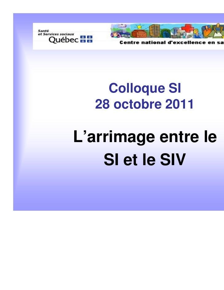 Colloque SI  28 octobre 2011L'arrimage entre le    SI et le SIV