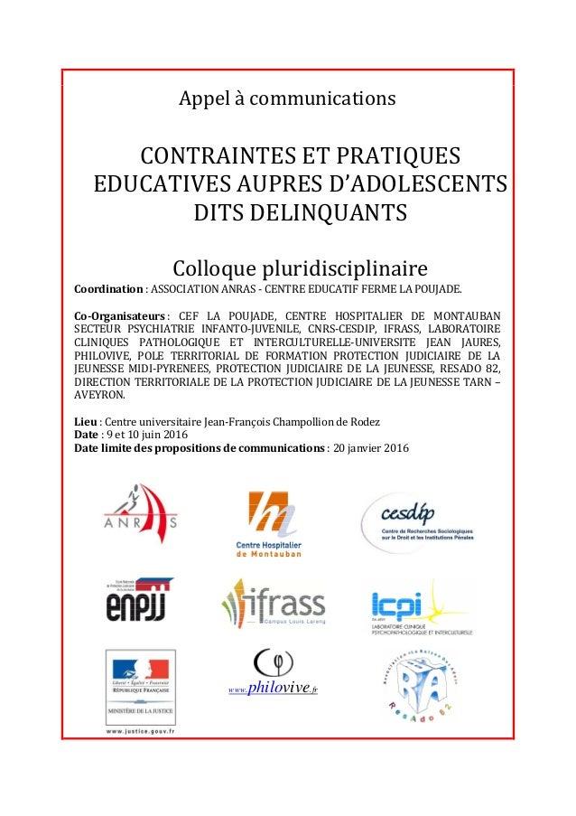 Appel à communications Coordination : ASSOCIATION ANRAS - CENTRE EDUCATIF FERME LA POUJADE. Co-Organisateurs : CEF LA POUJ...