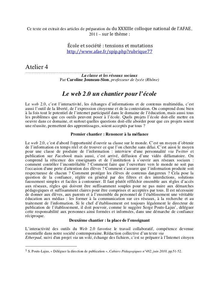 Ce texte est extrait des articles de préparation du du XXXIIIe colloque national de l'AFAE,                     ...