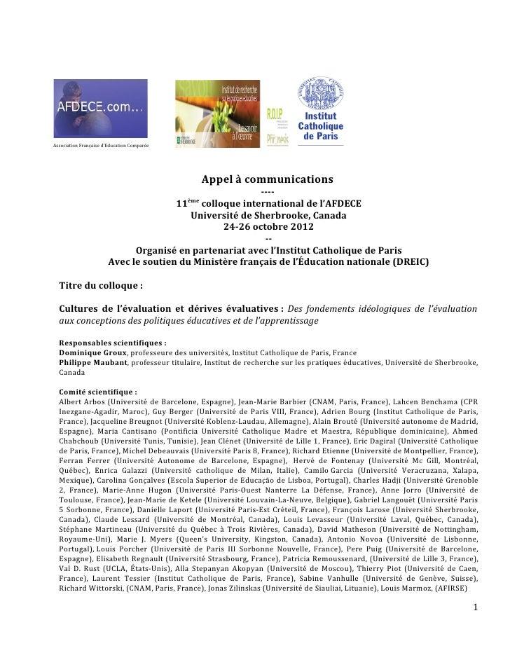 Association Française d'Education Comparée                                                   Appel à communications       ...