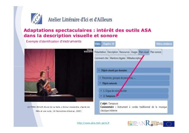 Adaptations spectaculaires : intérêt des outils ASAdans la description visuelle et sonoreExemple d'identification d'instru...
