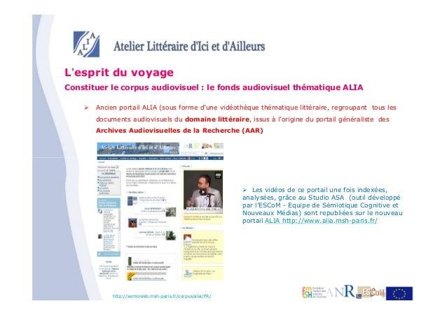 L'esprit du voyageConstituer le corpus audiovisuel : le fonds audiovisuel thématique ALIA       Ancien portail ALIA (sous ...