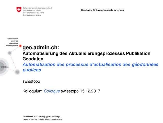 Bundesamt für Landestopografie swisstopo Automatisierung des Aktualisierungsprozesses Bundesamt für Landestopografie swiss...
