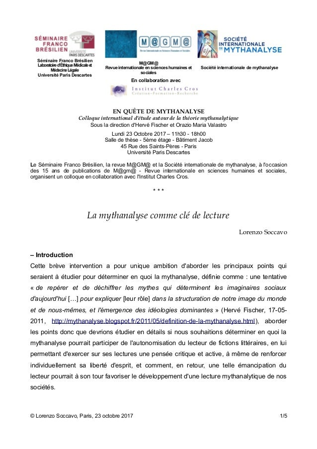 Séminaire Franco Brésilien Laboratoired'ÉthiqueMédicaleet MédecineLégale Université Paris Descartes M@GM@ Revue internatio...